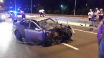 Böyle kaza görülmedi: Motor yerinden fırladı, iki kişi yaralandı