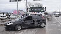 Beton mikseri aniden önüne çıkan otomobile çarptı: 1 yaralı