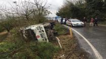 Kontrolden çıkan kamyon devrildi: 2 yaralı